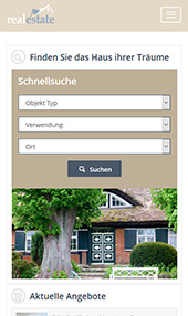 Real Estate Website on Mobile Phone