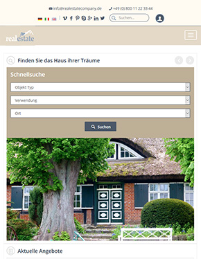 Real Estate Website on Tablet
